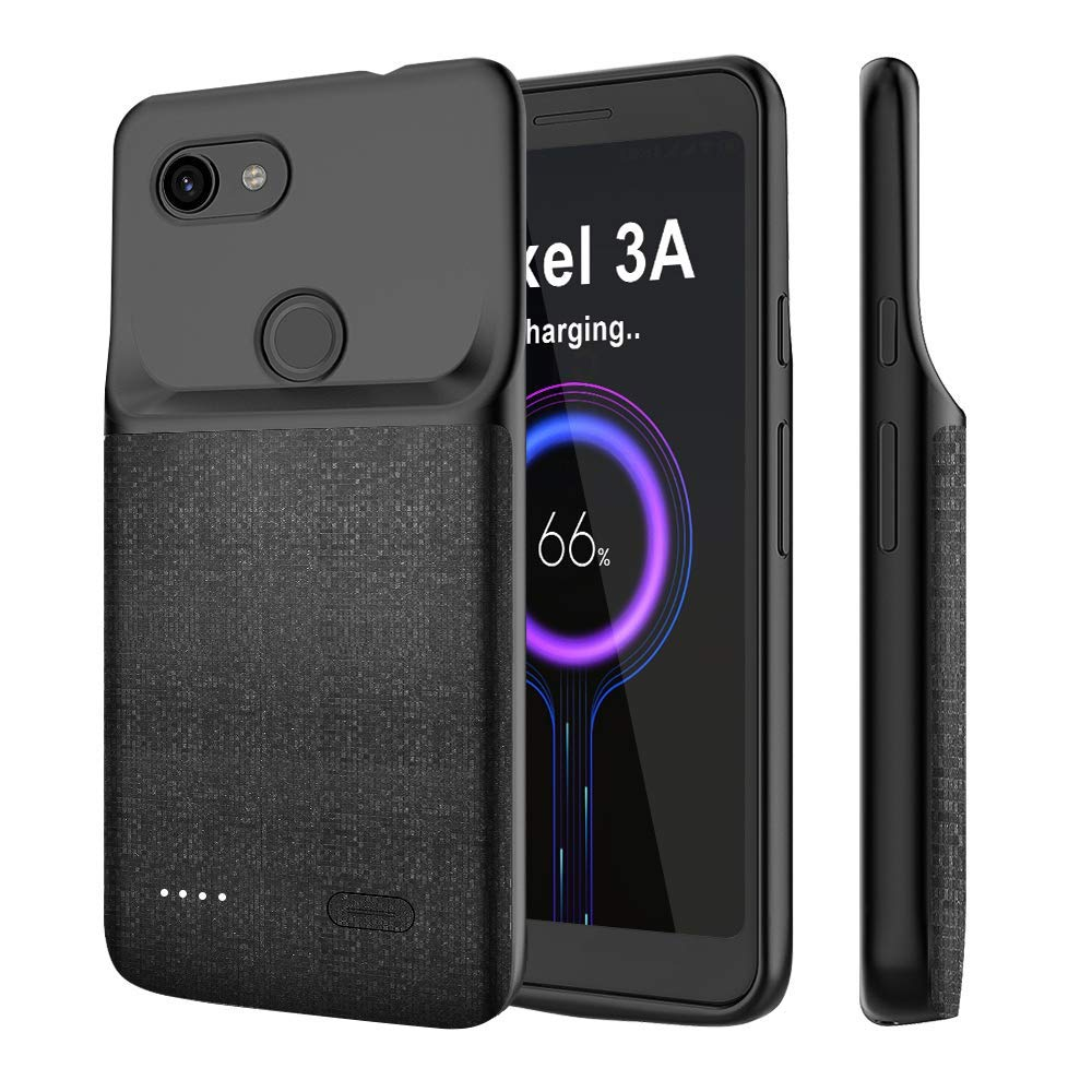 Newdery Battery Case For Pixel 3A, 3A XL 4700mAh Power Case For Pixel 3A 3A XL Soft TPU Charging Case Black