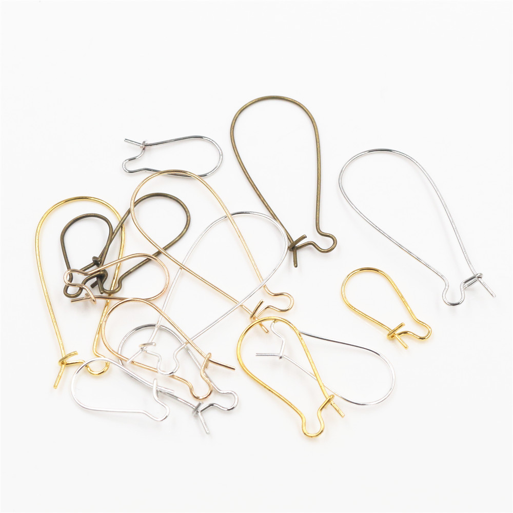 100pcs/Lot 11x24mm/16x38mm/9x18mm Silver Plated /Rhodium/Gold Color Earring Hooks Earring Ear Wires Findings DIY Jewelry Making