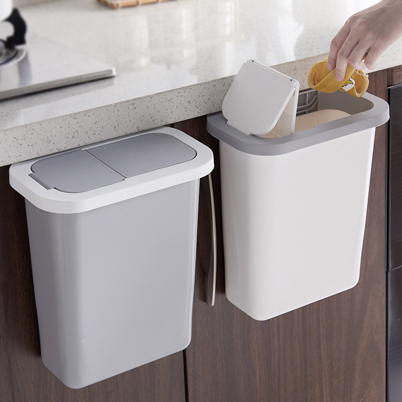 Hanging Trash Can with Lid Kitchen Cabinet Door and Wall-Mounted Waste Baskets