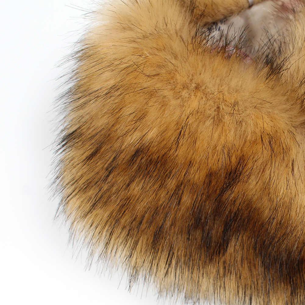 Kadın kış yapay yün moda taklit tilki kürk kabarık yaka eşarp şal boyun isıtıcı hediye ipek eşarp giyim aksesuarları
