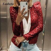 Lady Chic Glitter Sequined Jacket coat women Shiny Autumn puff Long Sleeve Cardi