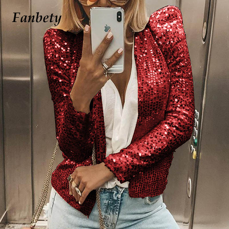 Lady Chic Glitter Sequined Jacket coat women Shiny Autumn puff Long Sleeve Cardigan Coat Elegant Female clubwear dropshipping