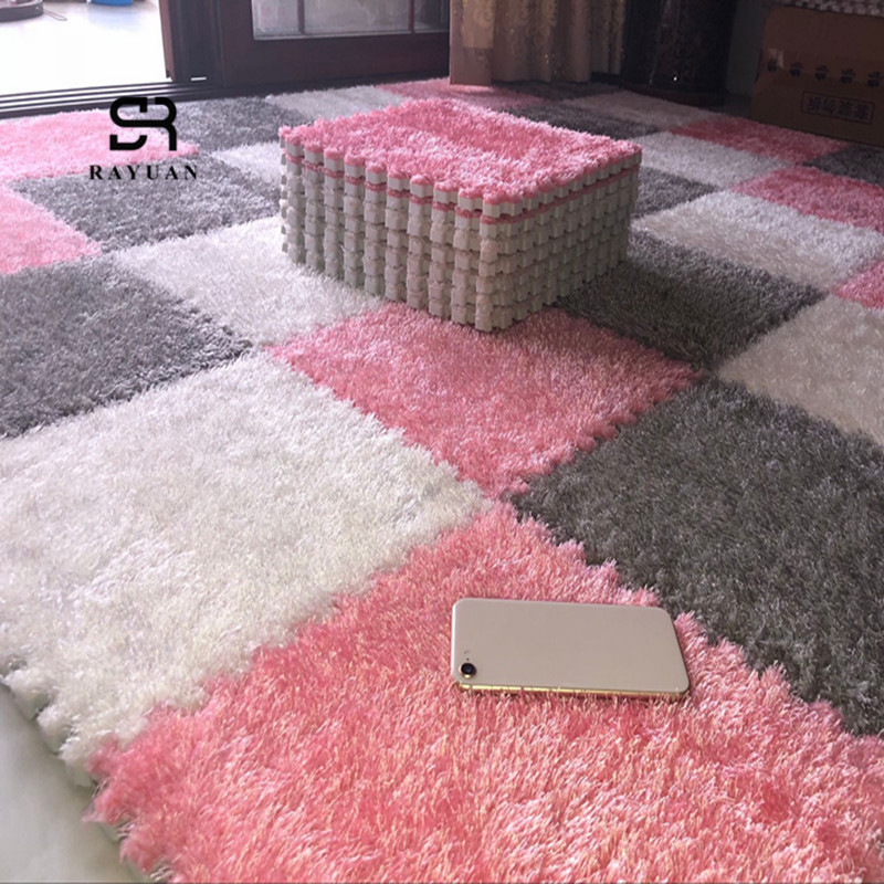 RAYUAN One Piece 30x30CM EVA Foam DIY Puzzle Mat Long Hair Villi Shaggy Carpet Mat Plush Soft Area Rug Children Baby Playmat drawer