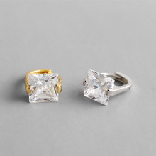 S925 pure silver personality contracted geometric square zircon ear clip earrings female ornaments