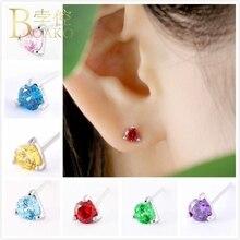 BOAKO Small 925 Sterling Silver Earrings For Women Wedding Birthday Stone Zircon Girl Rhinestone Crystal aretes Z5