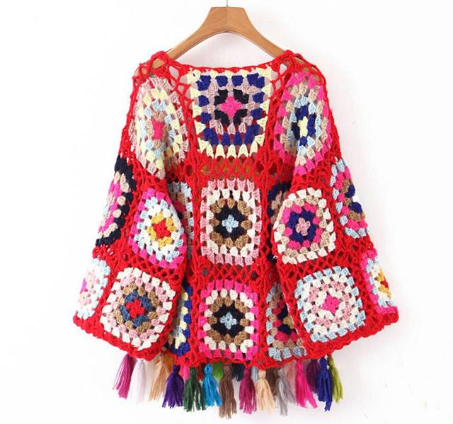 Geometric Ethnic Retro Colored Plaid Hollow Out Knitted Sweater8