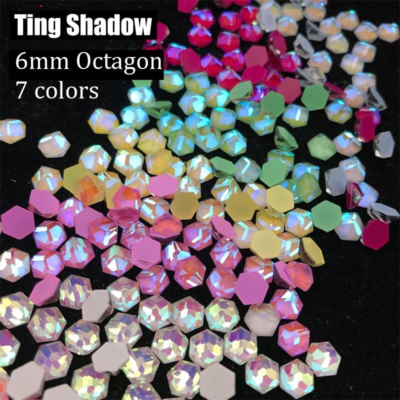 6mm Octagon 84pcs Fluorescent Crystal Luminous Non Hotfix Nail Purple Neon Rhinestones Clothes Nail 3D Nail Art Decoration