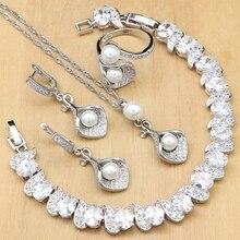 Ensembles de bijoux de mariée en corne en argent 925, perles en Zircon blanches pour femmes, boucles doreilles de fête avec pendentif en pierre, collier, bague, Bracelet