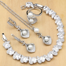 Horn 925 Silver Bridal Jewelry Sets White Zircon Pearls Bead For Women Party Earrings With Stone Pendant/Necklace/Ring/Bracelet
