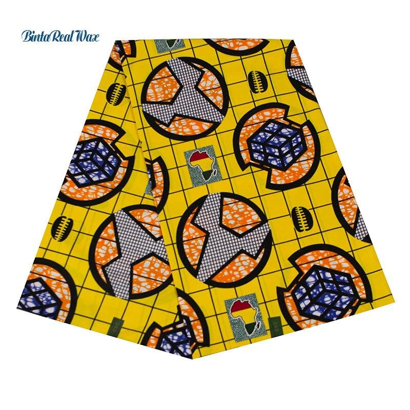 Haute qualité BintaRealWax jaune coton africain tissu néerlandais cire tissu africain Batik tissus pour l'afrique vêtements 24fs1354