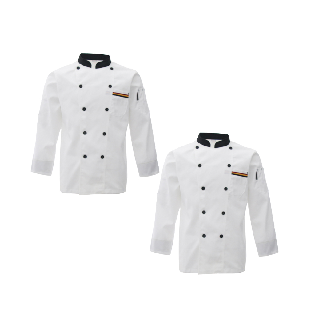 2Pcs White L CHEF COAT JACKET CHEFS White COAT CHEFWEAR UNISEX GOOD QUALITY