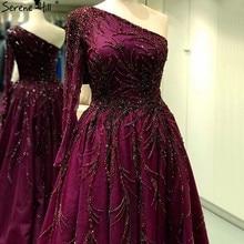 Vestidos de Noche línea a rojo vino diseño de Dubái, vestido Formal de lujo Sexy de un hombro, 2020 Serene Hill LA60988