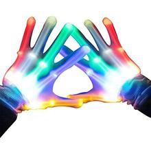 2 шт. Красочный светодиодный светящиеся перчатки эластичный детский реквизит для сцены для вечеринок 6 режимов Регулируемый светильник на выбор