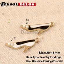 10pcs/lot high-heeled shoes size 20*15mm pendant alloy enamel charm DIY accessories of necklace bracelet headdress
