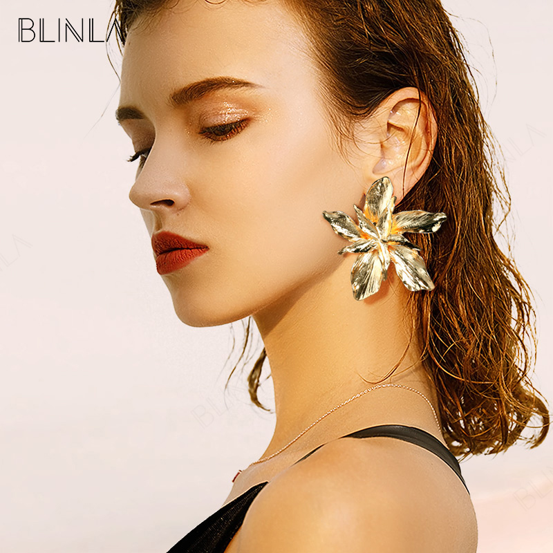 BLINLA New Vintage Gold Geometric Drop Earrings for Women 2019 Fashion Big Metal Leaf Dangle Earring Statement Jewelry Wholesale