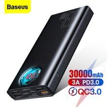 Baseus 30000mAh Power Bank USB C PD3.0 Fast Quick Charge 3.0 30000 mAh Powerbank Portable External Battery Charger For Xiaomi mi