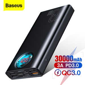 Baseus 30000mAh Power Bank USB C PD3.0 Fast Quick Charge 3.0 30000 mAh Powerbank Portable External Battery Charger For Xiaomi mi(China)