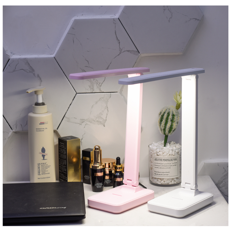 Bright LED table lamp portable rechargeable night light three mode stepless dimming eye protection reading book lamp