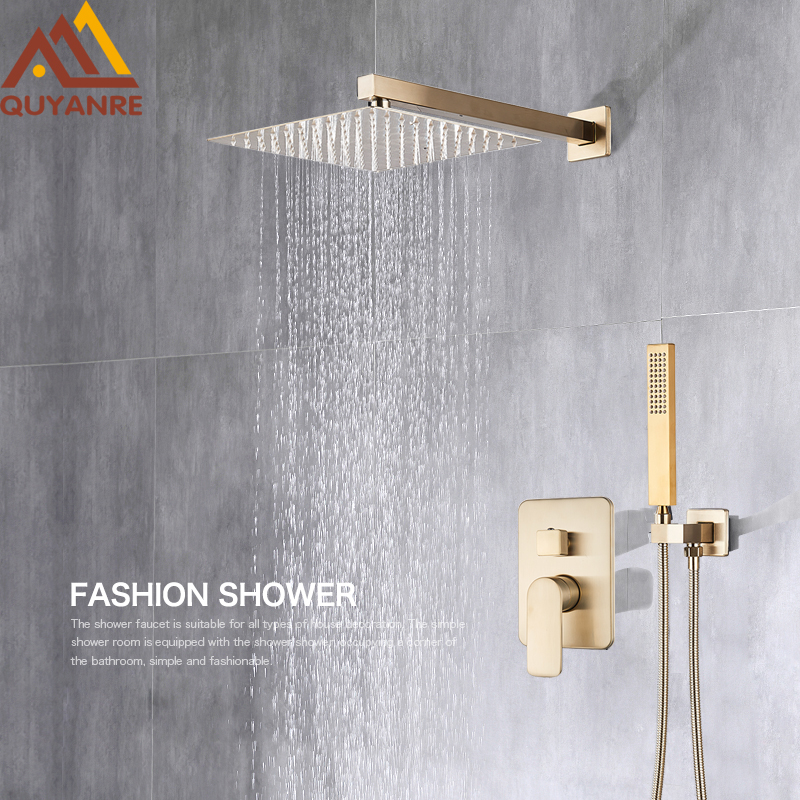 Quyanre Brushed Gold Shower Faucets Set Bathroom Wall Mounted Shower System Embedded Box Shower Mixer Tap Rainfall Shower Faucet