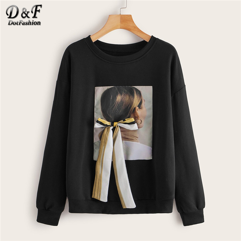Dotfashion Black Tie Front Print Sweatshirt Women 2019 Autumn Drop Shoulder Sweatshirts Ladies Casual Patchwork Sweatshirt