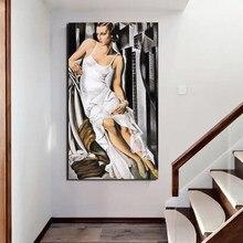 تامارا دي Lempicka امرأة في فستان أبيض قماش اللوحة طباعة غرفة المعيشة ديكور المنزل الفني الحديثة لوحة زيتية جدارية ملصق