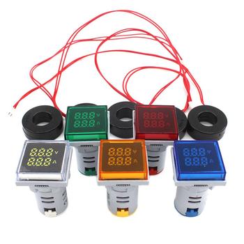Kwadratowy AC cyfrowy wyświetlacz LED woltomierza amperomierz napięcie Volt Ampere aktualny miernik wskaźnik ostrzegawczy światła sygnalizacyjne Tester 60-500V tanie i dobre opinie YJCAL 220 v Kontrolki AD16-22DSVA Indicator Lights 20-500V 2 8*5cm 1 10 *1 97 (D*H) Current Voltage Frequency -25~+65 C