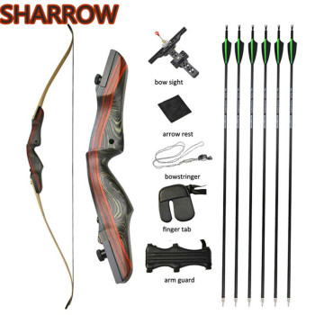 62 Archery Recurve Bow Arrows Set Takedown Wooden Longbow Hunting 20-50lbs Right Hand For Shooting Practice Hunting Accessories