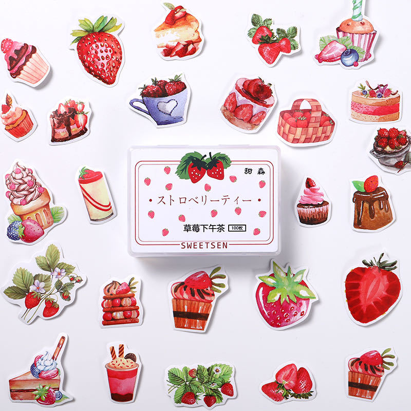 Strawberry Afternoon Tea Bullet Journal Cartoon Decorative Stationery Stickers Scrapbooking DIY Diary Album Stick Label