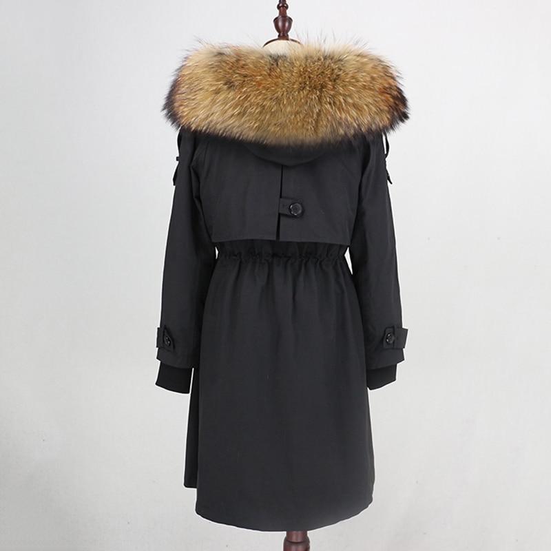 Image 4 - OFTBUY Waterproof Parka 2019 Real Fur Coat Winter Jacket Women Natural Raccoon Fur Collar Real Rex Rabbit Fur Liner Detachable-in Real Fur from Women's Clothing
