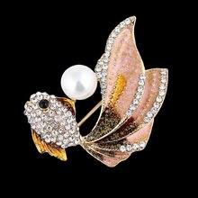 Кристалл жемчуг Золотая рыбка Броши для женщин костюм Стразы
