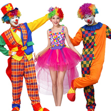 Halloween Sexy Fantasy Clown Dress Funny Circus Fairy Princess Cosplay Costumes Women Men Carnival Party Rainbow Clothes Adult