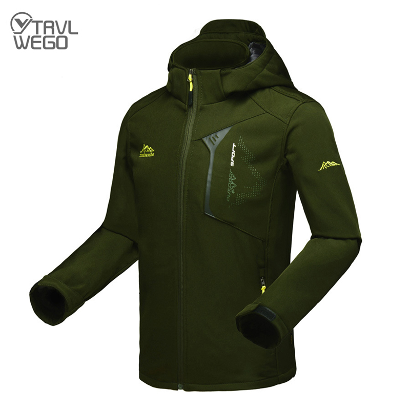 TRVLWEGO Мужская демисезонная флисовая куртка, Мужская спортивная куртка с капюшоном, Треккинговая ветровка, водонепроницаемая походная куртк...