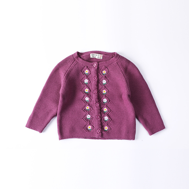 2018 Autumn And Winter GIRL'S Sweater Baby Long Sleeve Cotton Thread Yarn Cardigan Embroidered Infant Sweater-
