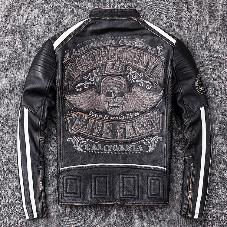 Free Shipping.2020 Brand New Mens Motor Biker Leather Jacket.fashion Skulls Cowhide Coat.plus Size Vintage Slim Jacket.black