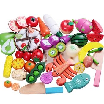 1 Uds juguete de madera cortador magnético frutas verduras comida simulación juego cocina modelo juguetes educativos para niños