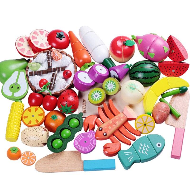 Juguete de madera para cortar frutas y verduras, simulación de juego de comida, modelo de cocina, juguetes educativos para niños, 1 Uds.