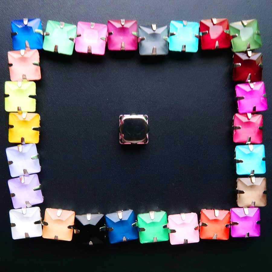 Vidro de Cristal de Prata configurações garra 8mm 10mm 12mm cores Extravagantes Quadrado forma Sew em strass contas de vestuário sapatos bolsas diy guarnição