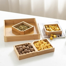 Bamboo Wooden Divided Serving Tray with Clear Acrylic Lid Dried Fruit Storage Box 4 Grid Nuts Platter Snack Candy Dropshipping