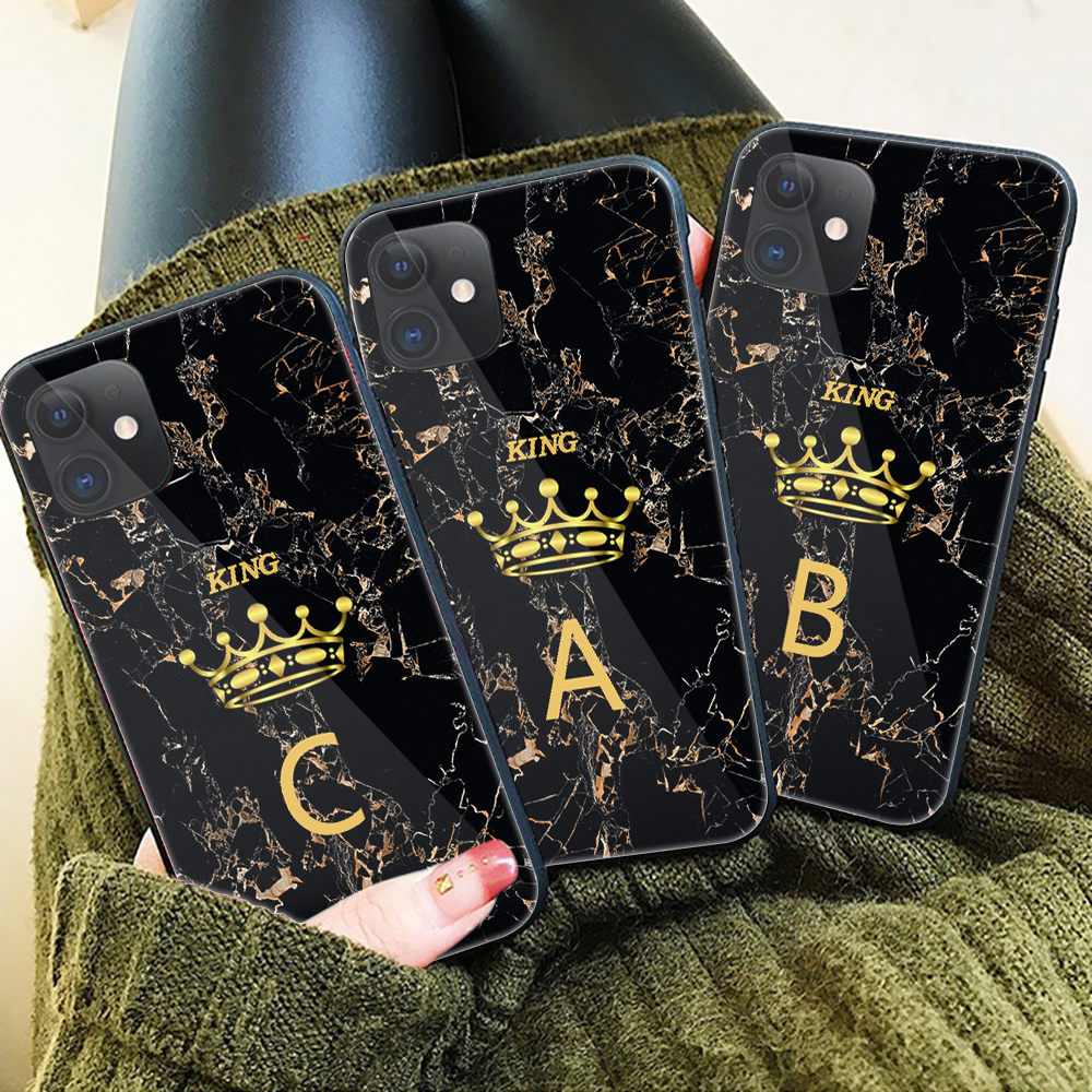 Custom name Letter Monogram Black Marble Gold crown glass Phone Case For iphone 11 Pro Max 2019 6 7 8Plus 6s XS XSMax XR 9H King(China)