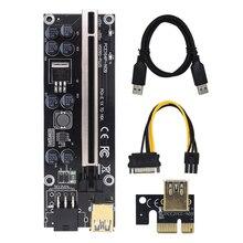 הכי חדש VER009 בתוספת USB3.0 PCI E Riser כרטיס Ver 009s SATA 15pin כדי 6 פין אקספרס 1X 4x 8x 16x extender מתאם BTC כריית כורה