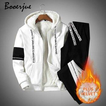 New Thick Tracksuit Men Sets Winter Casual Warm Men Fleece Sweatshirt Set Hoodies + Pants 2 Pieces Men's Hooded Track Suits 2020