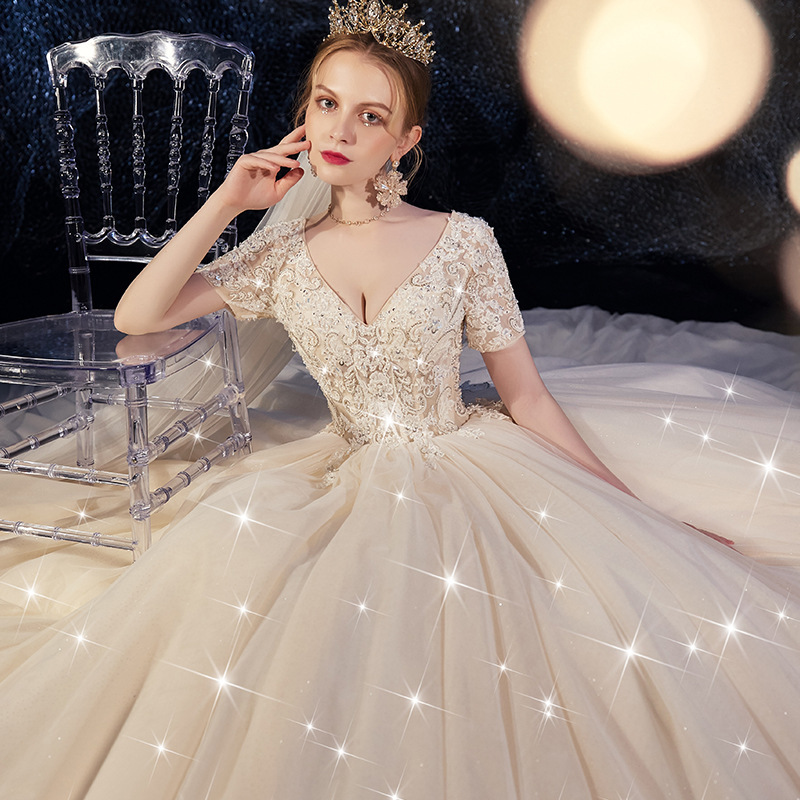Ball Gown Wedding Dress 2019 Sparkling Shinny Bridal Dress Boho Wedding Dress 2019 Appliqued With Flowers Tulle