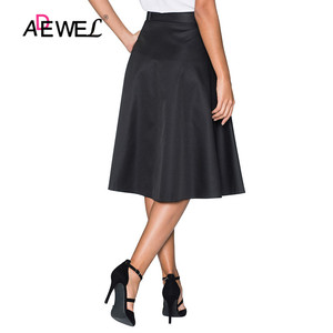 Image 2 - ADEWEL Lady Elegant Retro Style Buttons Front Flared Midi Skirt Black Skirts Womens Buttons Hot A Line Cute Skirts