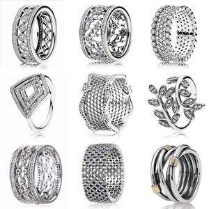 925 Sterling Silver oryginalny 1:1 liście zapomnij-me-nie kwiat koronki miłości wieczność spleciony wystawny Femal pierścień Pandora biżuteria
