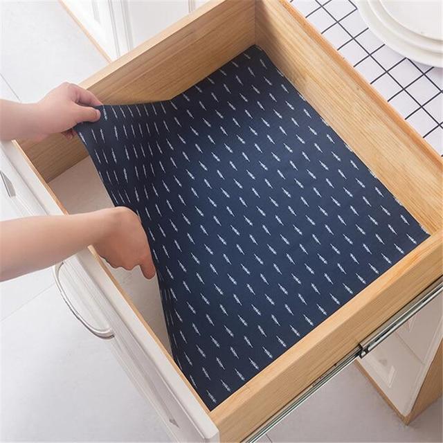 Waterproof Mat Kitchen Non Slip Cupboard Placemat Table Drawer Cabinet Shelf Liner Antibacterial Moisture Mildew Pad Sticker