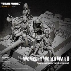 Набор из 1/35 полимерных фигурок, немецкая модель в виде солдата-танка (6 комплектов), для женщин, для самостоятельного сборки (6 комплектов)