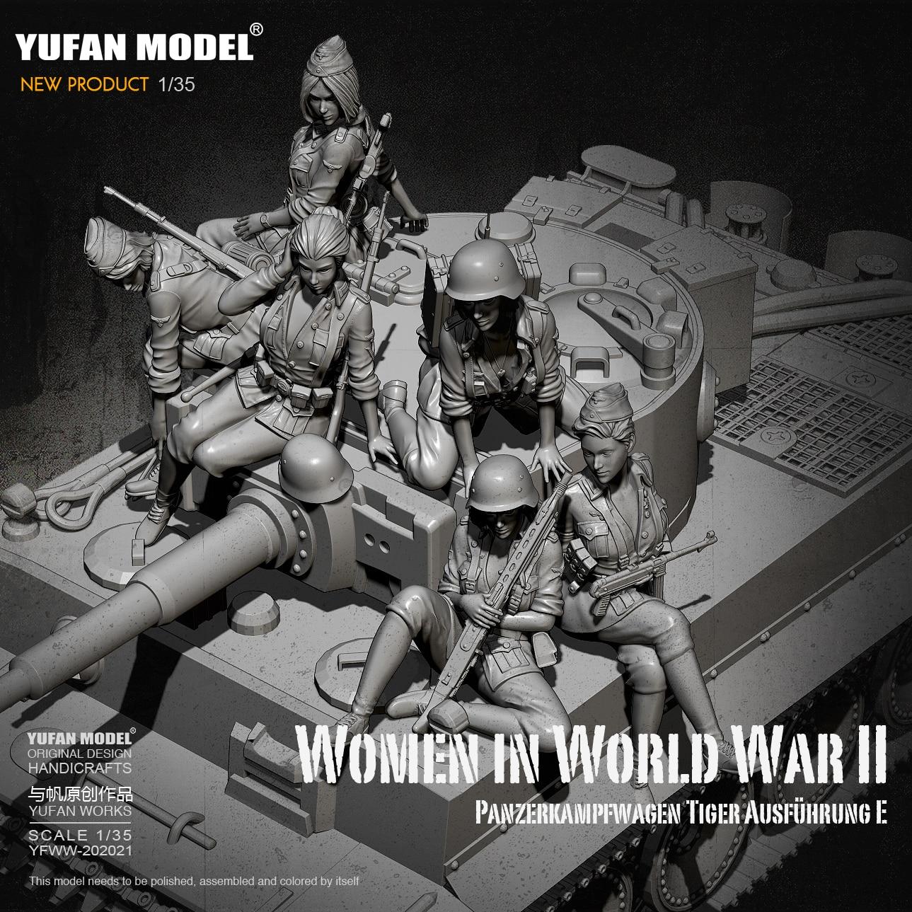 Kits de figuras de resina de 1/35, modelo soldado tanque alemán femenino, autoensamblado (6 juegos) YFWW-2065