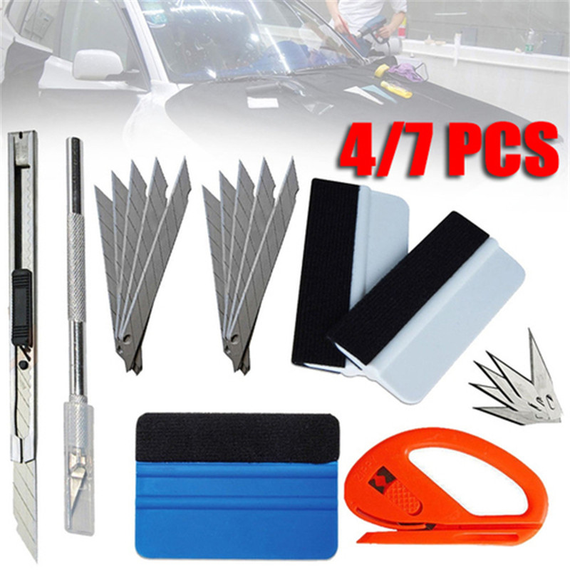 1/4/7 Pcs Auto Vinyl Tint Film Wikkelen Vilt Zuigmond Cutter Installeren Tool Kit Kit Auto Sticker Viltje schraper Snitty