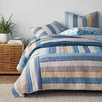 CHAUSUB Cotton Bedspread Quilt Set and Shams 3PCS Coverlets Handmade Patchwork Quilted Quilts Bed Cover King Size Thick Blanket