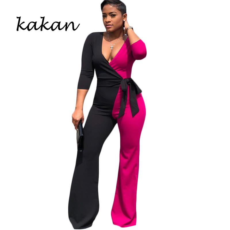 Kakan Spring New Women's Jumpsuit Black And White Colorblock Jumpsuit Sexy Wide-leg Jumpsuit Female